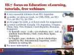 hl7 focus on education elearning tutorials free webinars