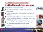hl7 international event @ ehealth week may 10 2011