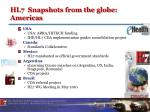hl7 snapshots from the globe americas