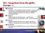hl7 snapshots from the globe europe 1