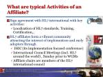 what are typical activities of an affiliate