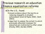 previous research on education finance equalization reforms