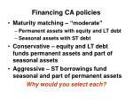 financing ca policies