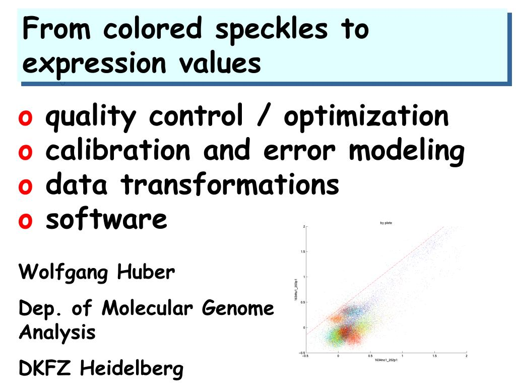from colored speckles to expression values l.