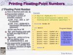 printing floating point numbers