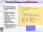 printing strings and characters