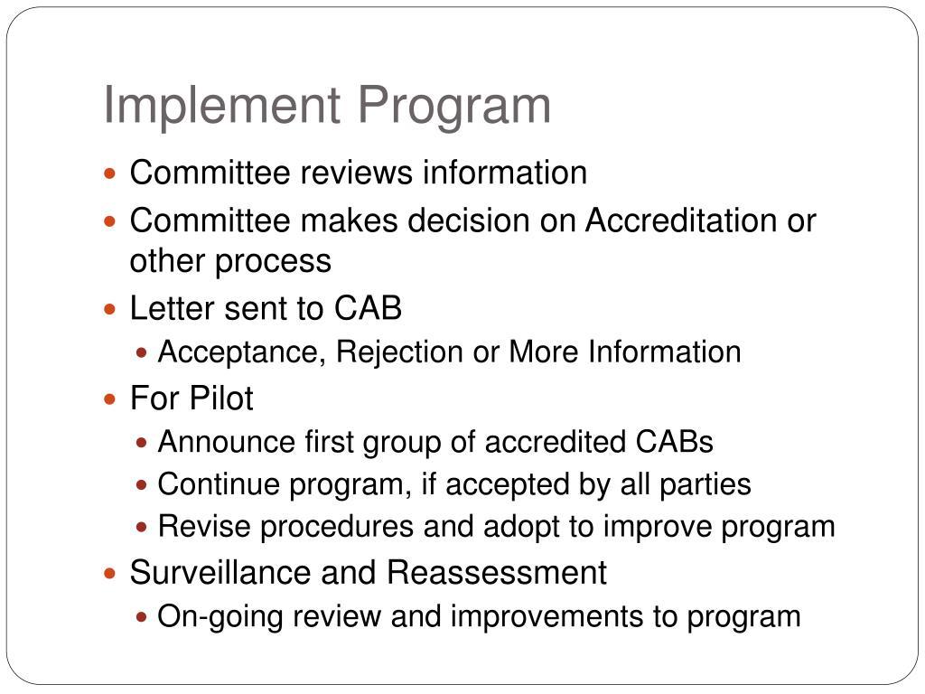 Implement Program