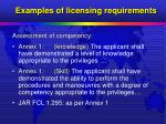 examples of licensing requirements
