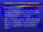 examples of training requirements