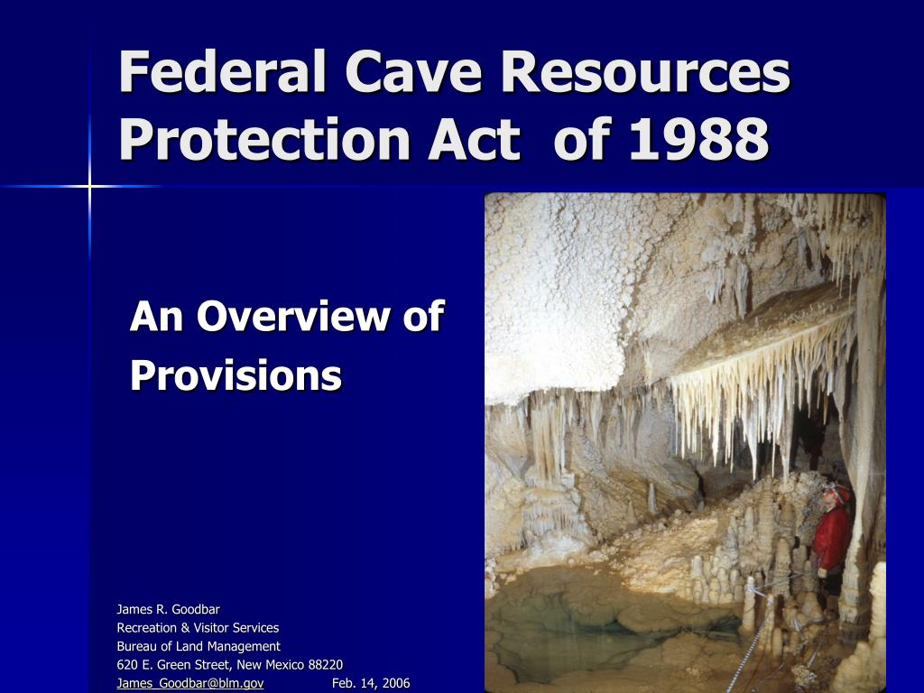 federal cave resources protection act of 1988 l.