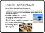 findings shared behavior