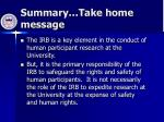 summary take home message