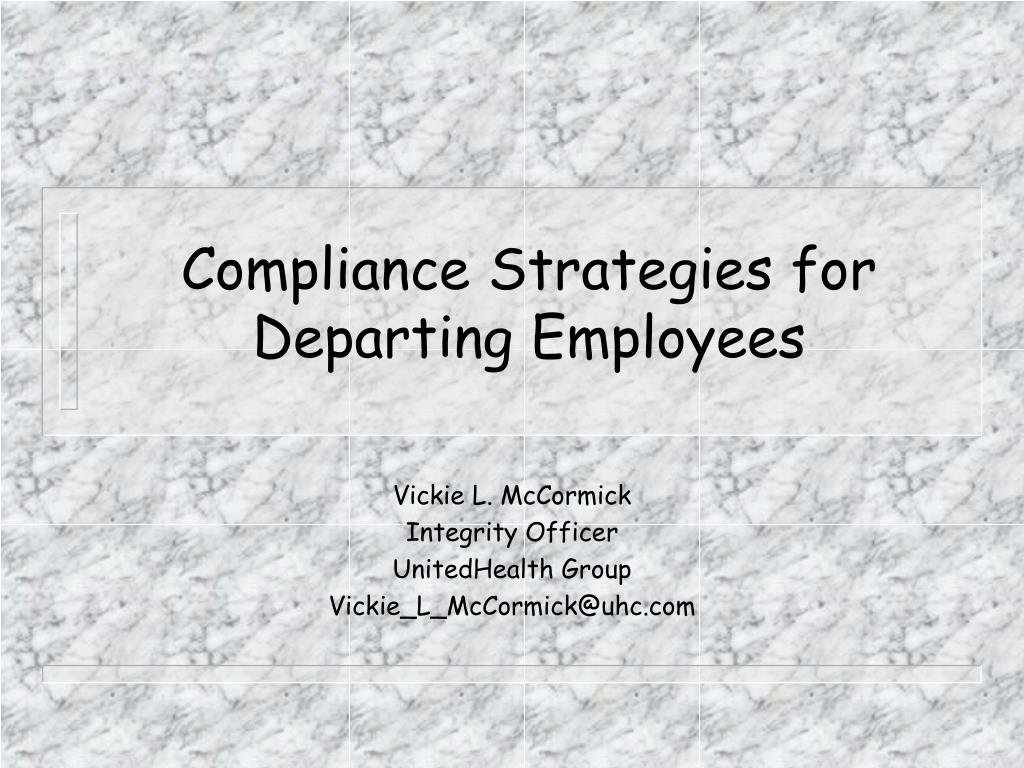 compliance strategies for departing employees l.