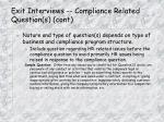 exit interviews compliance related question s cont