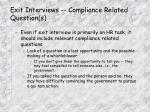 exit interviews compliance related question s