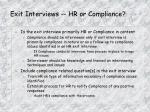 exit interviews hr or compliance