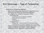 exit interviews type of termination