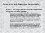 separation and severance agreements