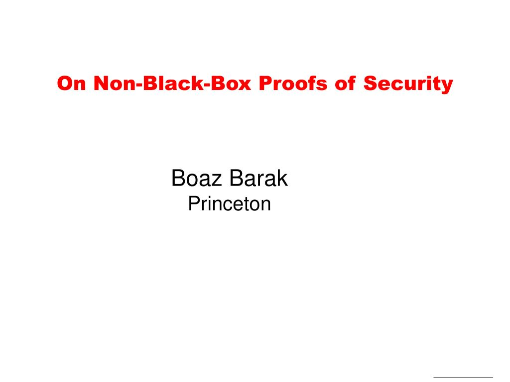 on non black box proofs of security l.