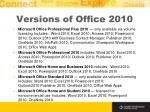 versions of office 2010