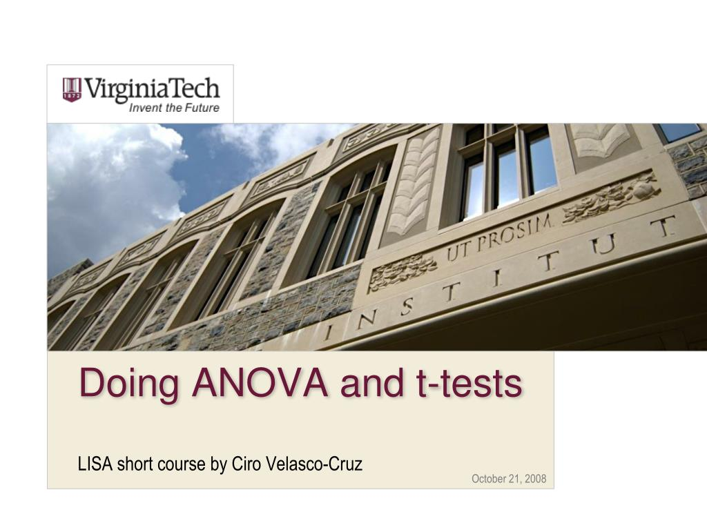 doing anova and t tests l.