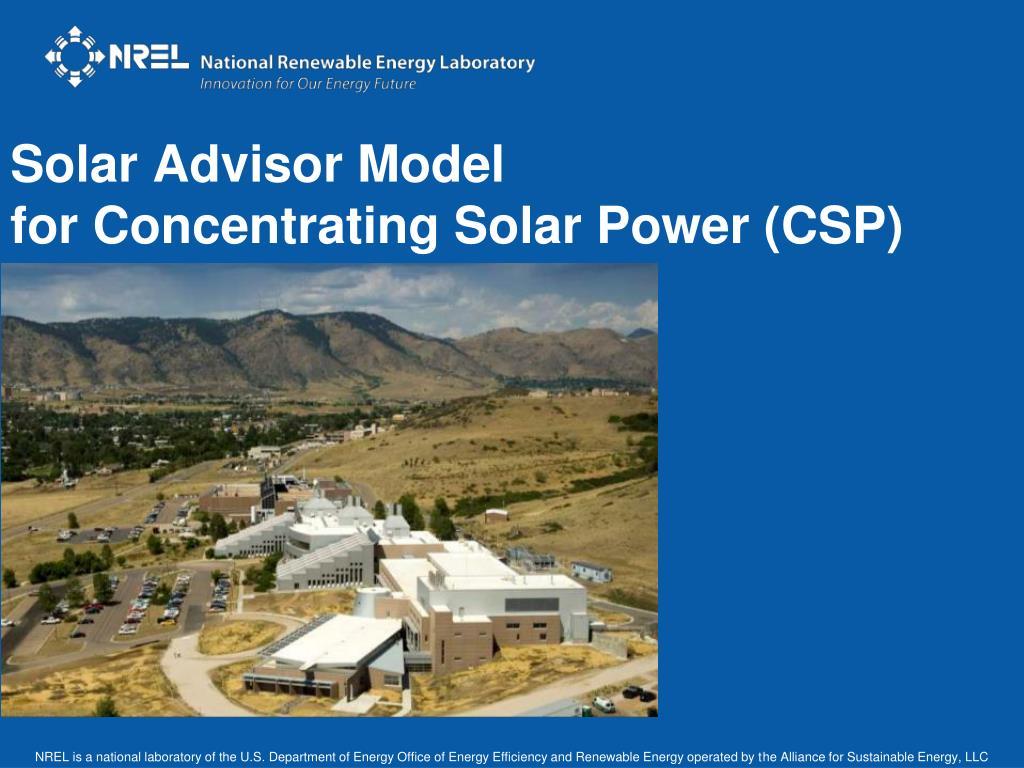 solar advisor model for concentrating solar power csp l.