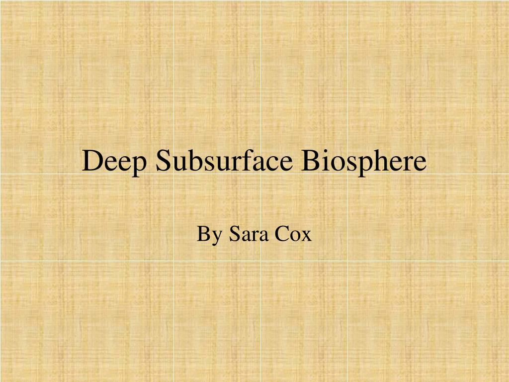 deep subsurface biosphere l.