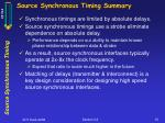 source synchronous timing summary