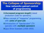 the collapse of sponsorship how networks gained control of programming