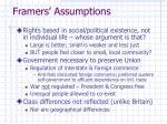 framers assumptions