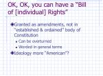 ok ok you can have a bill of individual rights