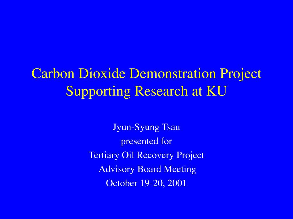 carbon dioxide demonstration project supporting research at ku l.