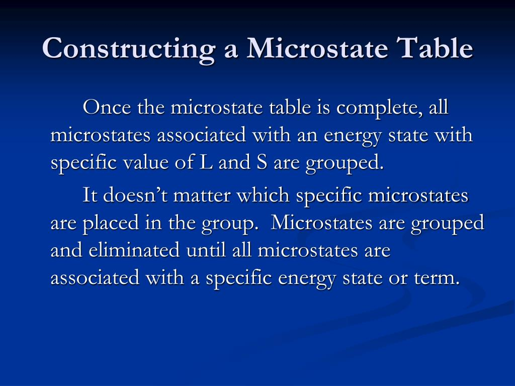 Constructing a Microstate Table