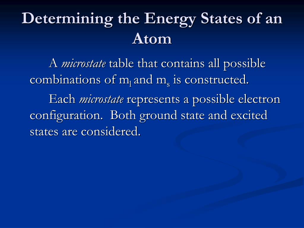 Determining the Energy States of an Atom