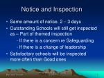 notice and inspection