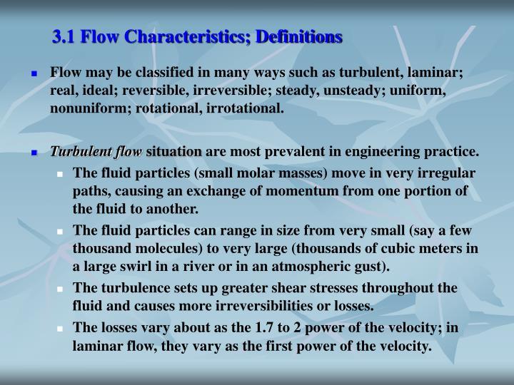3 1 flow characteristics definitions