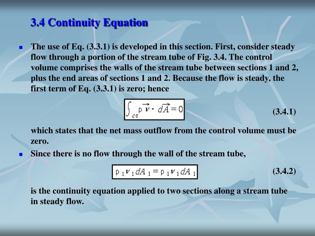 3.4 Continuity Equation