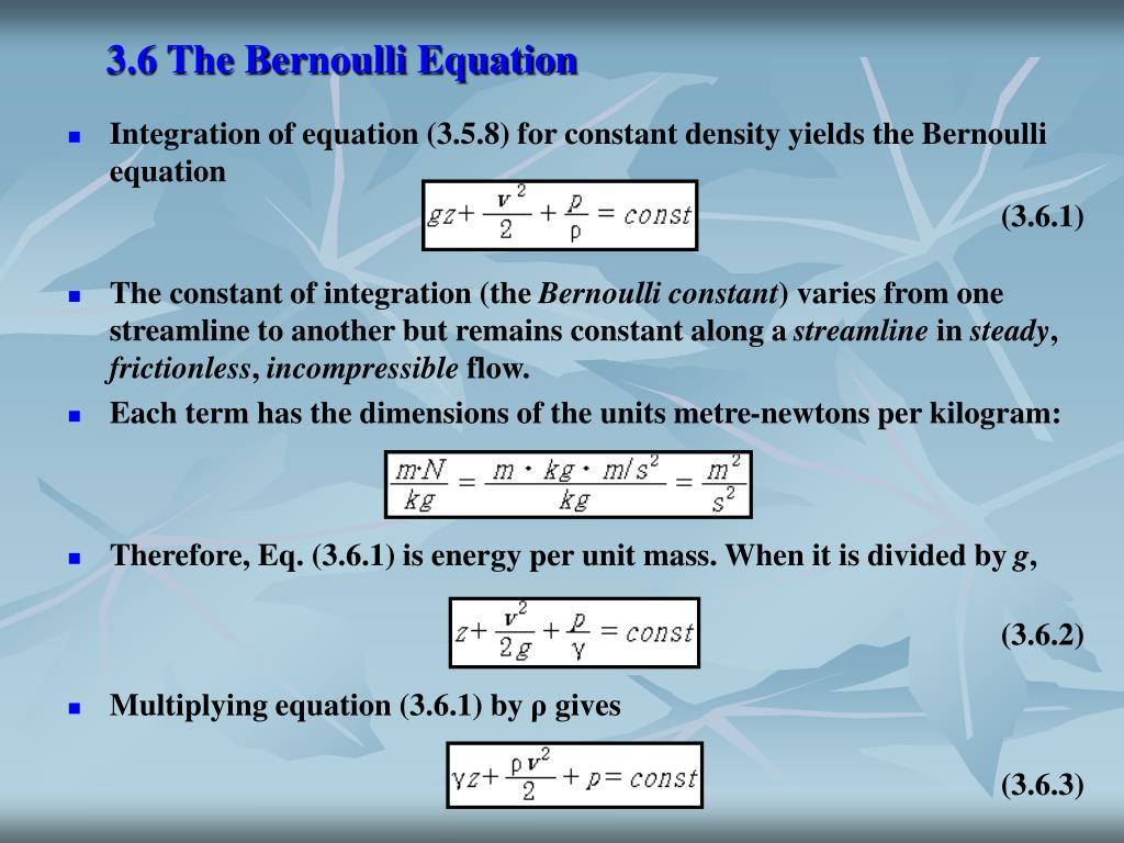 3.6 The Bernoulli Equation