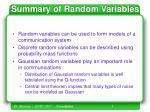 summary of random variables