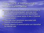 some effects of interpersonal communication online