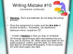 writing mistake 10 corrections continued