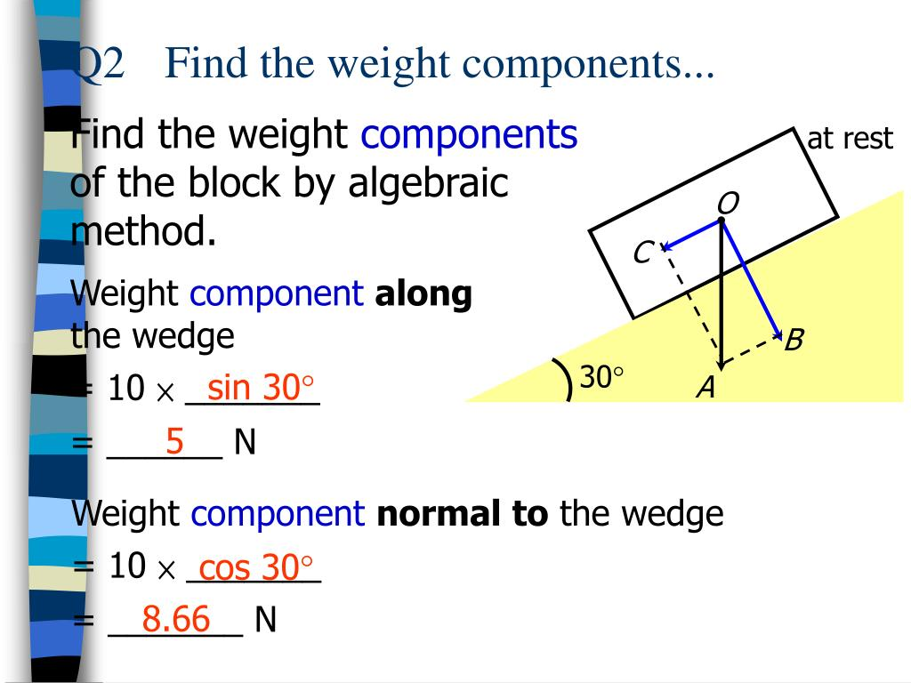 Q2	Find the weight components...