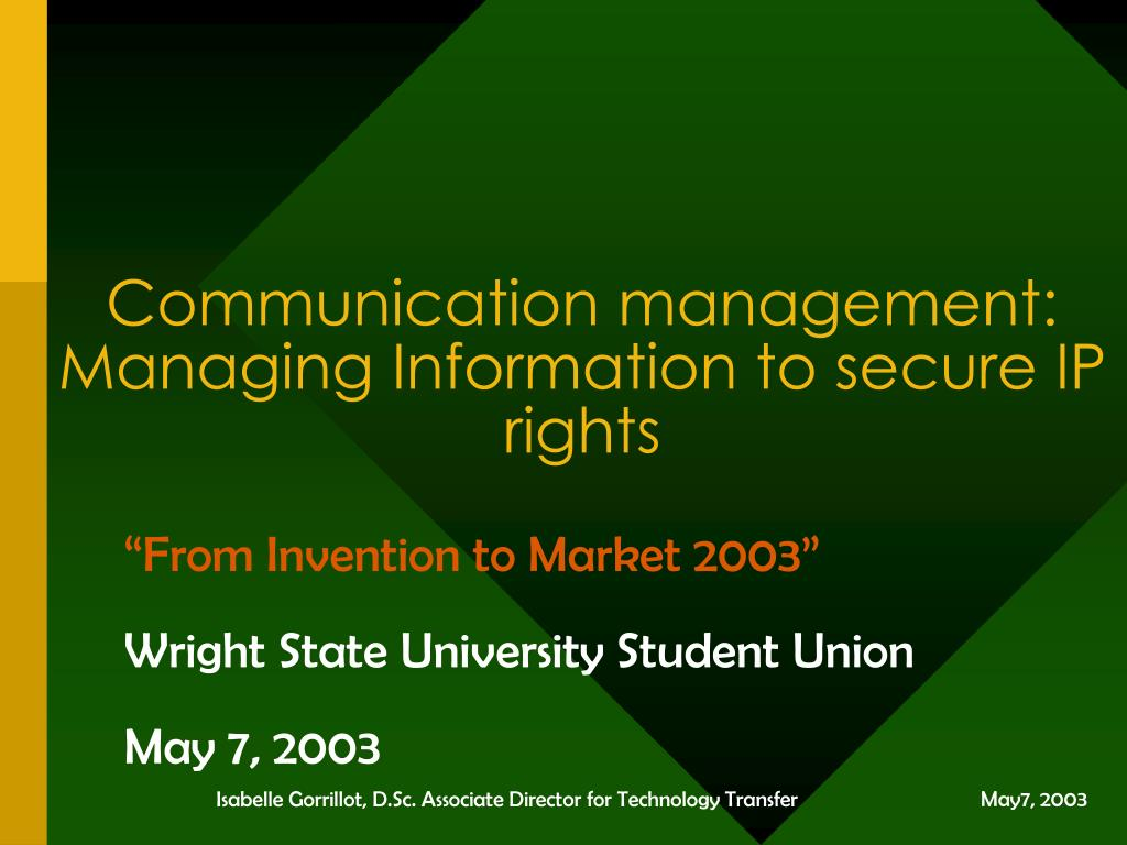 communication management managing information to secure ip rights l.