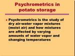 psychrometrics in potato storage