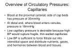 overview of circulatory pressures capillaries