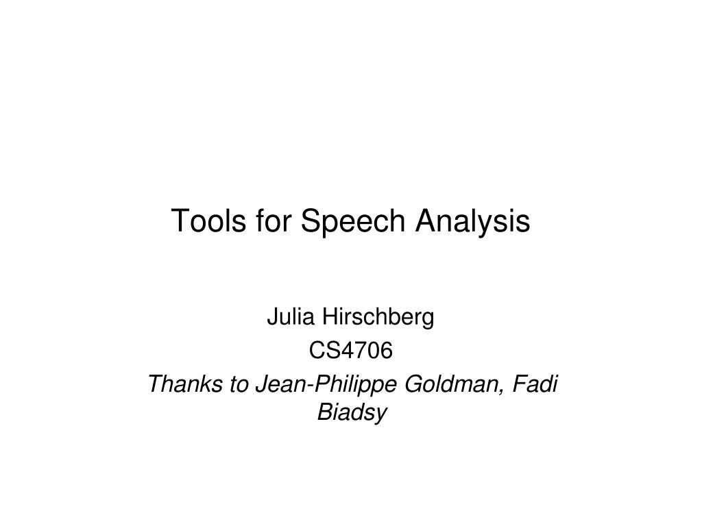 tools for speech analysis l.