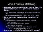 more formula matching