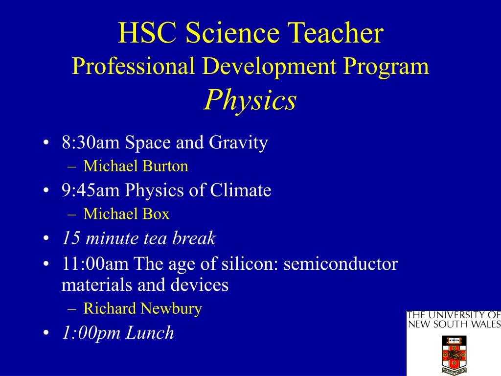 hsc science teacher professional development program physics l.