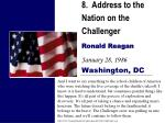 8 address to the nation on the challenger ronald reagan january 28 1986 washington dc