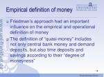 empirical definition of money